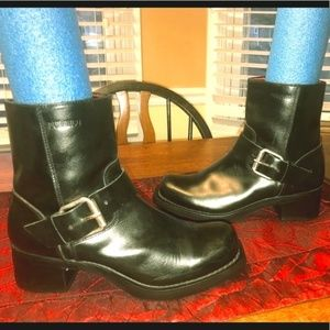Edgy Durango Leather Boots w/Silver Strap Sz 10M